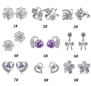 Wholesale 30 Sterling Silver Stud Earrings For Women Cut Swiss Austria Diamond Crystal Style Silver Earring High quality Jewelry