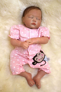 Wholesale silicone baby dolls resale online - 49cm inch Handmade Reborn Baby Doll Girl Newborn Life like Soft Vinyl silicone Soft Gentle Touch Cloth Body Magnetic pacifier