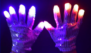 Wholesale New LED Glow Flashing Sequins Gloves Party Dance Finger Lighting Mittens Gloves Halloween Christmas performance stage props festive supply
