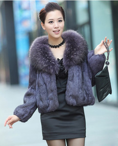 Autumn Winter women's big real raccoon fur collar long sleeve natural rabbit fur short coat casacos plus size SMLXLXXL3XL