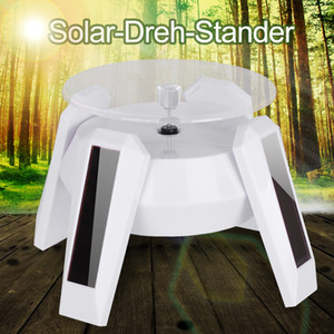 Mini Solar Power LED Light Display Rotating Table Jewelry Smart Watch Mobile Phone Cellphone 360 Degree Stand