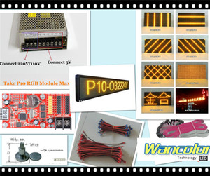 Wholesale p10 outdoor LED scrolling display yellow color p10 display module power supply wifi usb controller