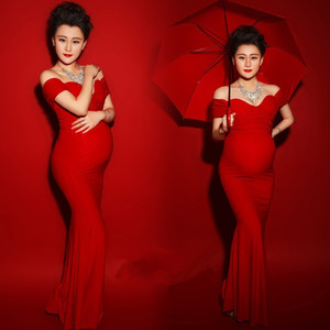 Maxi Maternity Gown Shooting Photo Clothing Maternity Photography Props Sexy Boat Neck Red Color Pregnant Dress Vestido