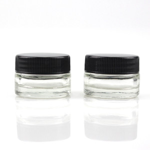 Food Grade Non-Stick 5ml Glass Jar Tempered Glass Container Wax Dab Jar Dry Herb Container with Black Lid VS 6ml Glass Jar DHL