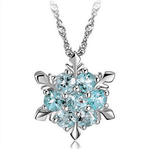 Wholesale Fashion Silver Plating Wedding Jewelry Cubic Zirconia Snowflake Star Pendant Necklace Women Girl Party Accessories Austrian Crystal Necklace