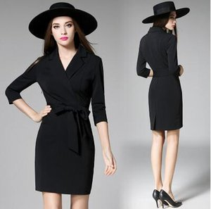 Wholesale 2017 Black Business Suit Professional Work Dresses V Neck Long Sleeves Bodycon Pencil Office Dress Bow Belt Short Sheath Formal Dresses