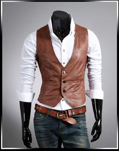 Wholesale PU Leather Vest Men Sleeveless V Neck Single Breasted Two Pockets Design Brief Stylish Mens Dress Vest