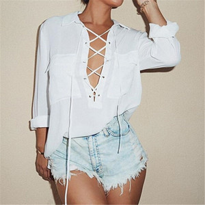 2019 Fashion Womens Turn Down Collar Sexy Hollow Front Lace Up Long Sleeve Blouse White Chiffon Tops Shirt Casual Blusas Femininas