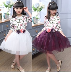 Wholesale 2016 Autumn Big Girls Long Sleeve Dress Kids Floral Printed Princess Tutu Dress Children Clothing Cute Girl Gauze Dress cm K7135 BJ