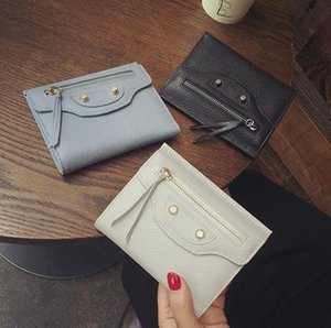 Wholesale sale W321 MANY COLOR GENUINE LEATHER STUD ZIPPY SHORT WALLET motorcycle city luxury designer inspired grey black pink b purse