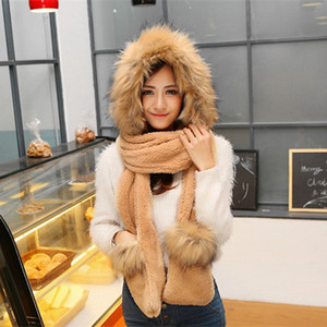 Plush Soft Faux Fur Winter Ladies Woman Furry Hat with Hood Scarf Long Mittens Pocket Hoods Coral velvet Christmas Gift