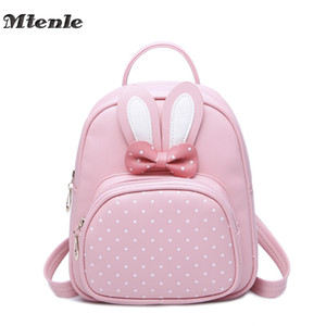Wholesale Mtenle Mini Small Backpacks For Teenage Girls Bunny Cute Backpack Women Leather Polka Dot Bow Back Bag Pink Mochila Feminina Fi