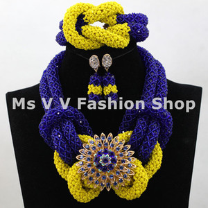 Wholesale statement charms royal blue yellow african jewelry indian jewelry beaded bracelet necklace earring k gold jewelry fit wedding party gift