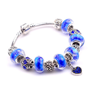 Wholesale Charms Bracelets Glass Crystal European Charm Beads Fits Charm bracelets New Style Bracelets Dark Blue Bracelet