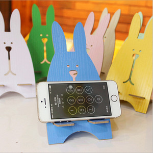 Wholesale wood phone holders with rabbit shape for all cell phones LOGO custom colors for option home decoration