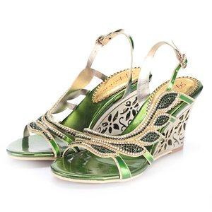 Wholesale Real Green Wedding Shoes Bridal Accessores Shoes Summer Style Women Sandals Wedges Crystal Beads Sexy Hot Sale Evening Ladies Shoes