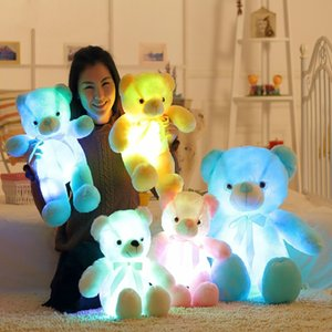Wholesale 50cm Creative Light Up LED Teddy Bear Stuffed Animals Plush Toy Colorful Glowing Teddy Bear Christmas Gift for Kids