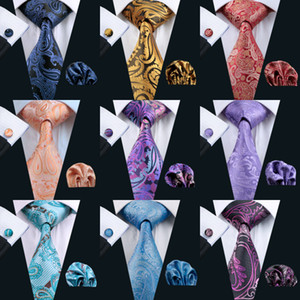 Wholesale Classic Paisely Neck Tie Set Silk Hanky Cufflinks Jacquard Woven Necktie Men's Tie Set Business Party Work Wedding on Sale