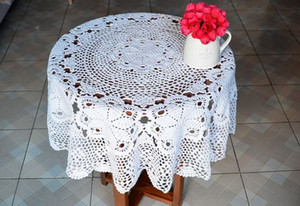 Wholesale crochet round cloths for sale - Group buy Round table cloth Vintage look handmade table cover for home decor crochet table topper shabby chic feel table linen quot inches cm