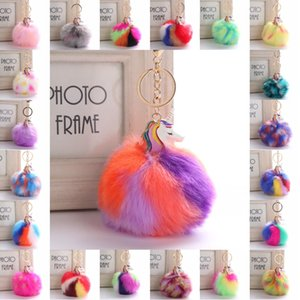Wholesale 21 Styles Colourful Imitation Rabbit Fur Ball Unicorn Pendant Pony Key Buckle Unicorn Plush Pony Women Bag Pendant Keychain D31Q