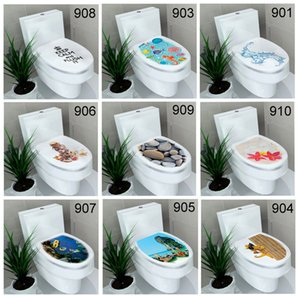 Wholesale Animals Flowers Pebbles Underwater World Toilet Sticker Bathroom Wall Stickers Home Decoration Wall Decals Mixed Styles