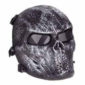 Wholesale Masquerade Airsoft Paintball Mask Skull Full Face Mask Army Games Outdoor Metal Mesh Eye Shield Costume for Halloween Party Supplies
