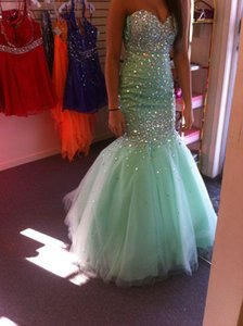 Wholesale Bling Mermaid Mint Green Evening Dresses New Cheap Sweetheart Crystal Beading Tulle Long Sweep Train Formal k16 Prom Dress Party Gowns