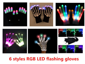 Wholesale 6 styles Multi Color Electronic LED Flashing Gloves colorful led Light Up Halloween Dance Rave Party Fun