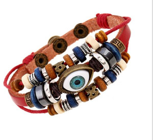 Wholesale New style Europe and the United States export jewelry Beaded Leather Bracelet retro eye Unisex Leather Bracelet