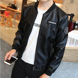 Hot Spring and Autumn Young Men's Leather Jacket Winter Leather Slim Men's Leather Jacket Men's Baseball on Sale