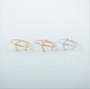Wholesale anchor jewelry for women resale online - Hot Sell Nautical Gift Unique Anchor Ring Silver Plated Retro knuckle Midi Rings for Women Everyday Wear Jewelry