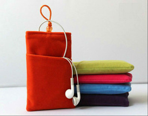 Wholesale Phone Velvet Pouch Cloth Sleeve Lint Bag Pouch Soft Double Pouch Bag Velvet Phone Case Buckle Protection Bead Bag For Cell phone accessories