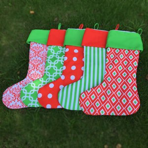 Wholesale Blanks Xmas Stocking Santa Gift Bag Stripe Polka Dots Diamond Print Christmas Stocking with Red and Green Top DOM389