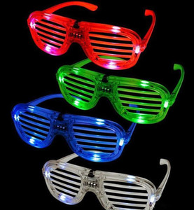 Wholesale Shutters LED Glow glasses concert cheer Halloween props dance Fluorescence luminous glasses Led Toy Christmas dhl gifts