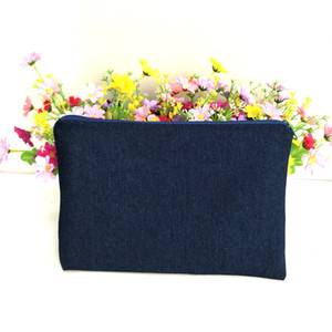 Wholesale denim makeup bag resale online - 14oz pure cotton navy denim thick and durable makeup bag with true red lining navy zip denim zip pouch