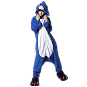 kostüme hai großhandel-Tier Cosplay Kostüm Adult Pyjamas Seefisch Shark Onesies Cartoon Nachtwäsche Schlafanzug Shark Pyjamas Cartoon Tiere Big Blue Fish Overall