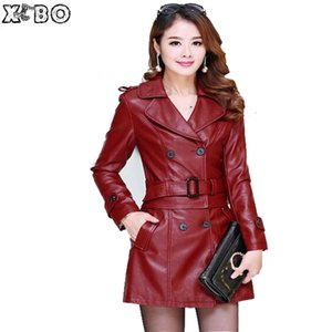 Wholesale XL New Women Leather jacket with real fur collar Uses For Short And Long Leather Coat Women Leather Jackets Plus Size