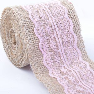 Wholesale 2M Jute Burlap Ribbon With Lace Trim Edge Weddin cm width Party Holiday DIY Decorations