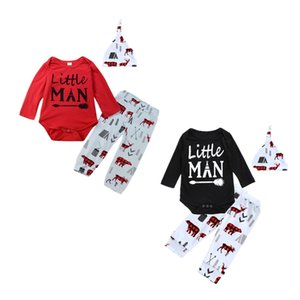 Wholesale Newborn baby boy girl Christmas cotton Romper reindeer pants Hat Baby boys girls Bodysuits arrow outfits XMAS red black two design clothing