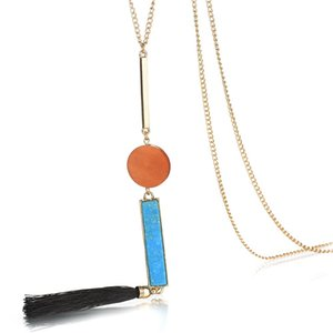 Wholesale Ethnic Handmade Stone Wood Charms Black Tassel Pendant Necklace India Fashion Women Long Chain Gold Color Necklace