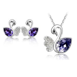 Hot!Cute 18K White Gold Plated Ausrtrian Crystal Swan Necklace Earrings Jewelry Sets for Women Made With Swarovski Elements Wedding Jewelry on Sale