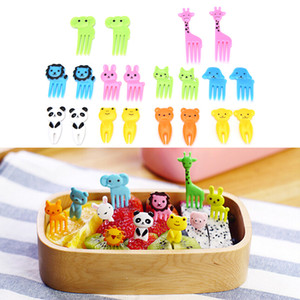 Wholesale 10pcs pack Animal Farm Fruit Fork Mini Cartoon Children Snack Cake Dessert Food Fruit Pick Toothpick Bento Lunches Party Decor