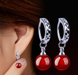 925 Sterling Silver Drop Earrings Shambala Ball Stud Earrings Round Red Black Agate Dangle Charm Jewelry Elegant Wedding Party on Sale