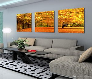 Wholesale Modern Yellow Maple Floral Painting Fallen Leaves On Canvas Giclee Print Wall Decor Set30021