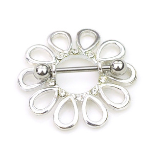Wholesale nipple pierce jewelry for sale - Group buy D0660 color Nice flower style NIPPLE ring piercing jewelry clear color stone drop piercing body jewelry shipping