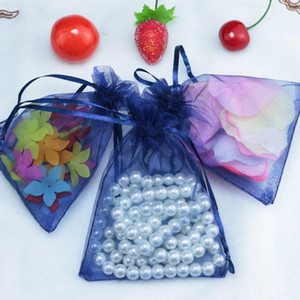 Wholesale Dark Indigo Handmade Organza Drawstring Gift Bag Tulle Jewelry Beads Food Packaging Storage Carrying Wedding Favor Pouches x20cm