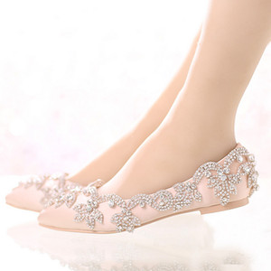 Wholesale Champagne Satin Bridal Wedding Dress Shoes Flat Heel Pointed Toe Formal Dress Shoes Lady Party Prom Dancing Shoes Rhinestone