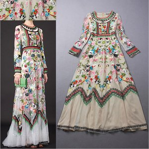 Wholesale 2016 HIGH Quality New Fashion Runway Maxi Dress Women s Noble Long Sleeve Stunning Gauze Embroidery Long Dress Full Dress