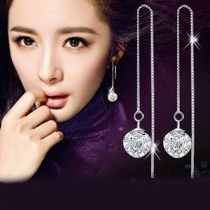 Wholesale High quality Silver Plated Shambala Ball Long Pattern Ear Cuff Earrings Diamond Crystal disco beads Earings fine Jewelry for women girls