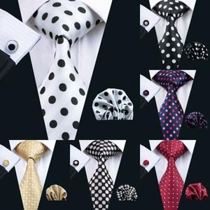 Fast Shipping Silk Tie Polka Dots Style Set Wholesale Necktie Hanky Cufflinks Classic Silk Jacquard Woven Men's Tie Set 8.5cm Business